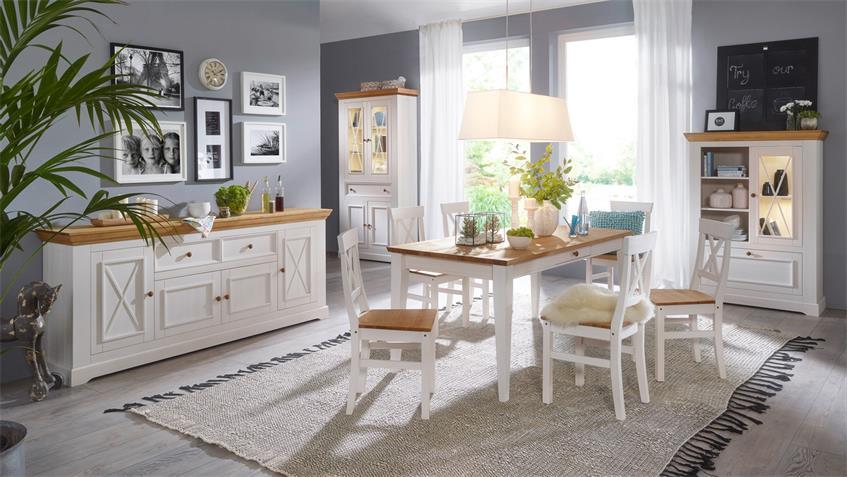 esstisch glora kiefer massiv wei gewachst eiche 180x90 cm landhaus. Black Bedroom Furniture Sets. Home Design Ideas