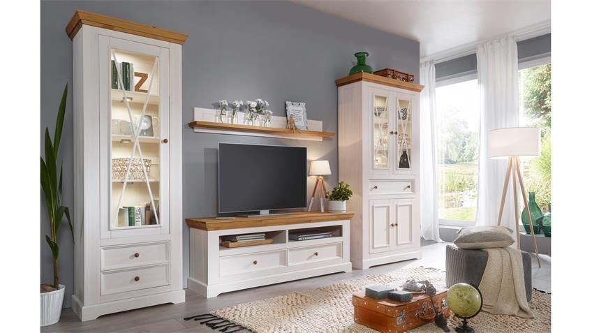 wohnwand glora anbauwand kiefer massiv wei gewachst eiche landhaus. Black Bedroom Furniture Sets. Home Design Ideas