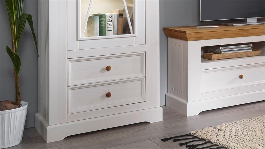 wohnwand glora anbauwand kiefer massiv wei gewachst eiche. Black Bedroom Furniture Sets. Home Design Ideas
