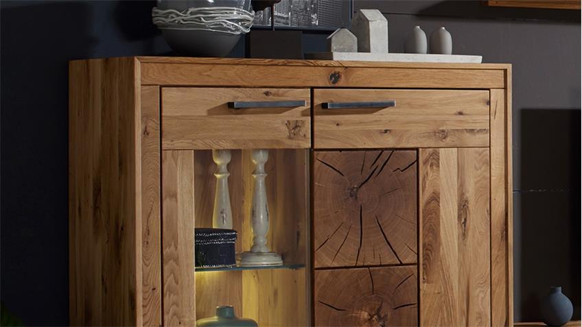 highboard 1 gaja schrank wildeiche massiv natur ge lt mit hirnholz. Black Bedroom Furniture Sets. Home Design Ideas