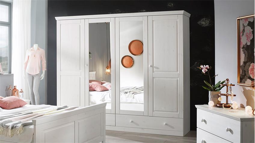 kleiderschrank genia schrank kiefer massiv wei gewachst landhausstil. Black Bedroom Furniture Sets. Home Design Ideas