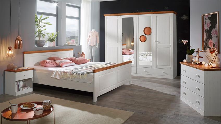 kleiderschrank genia in kiefer massiv wei gewachst honig landhausstil. Black Bedroom Furniture Sets. Home Design Ideas