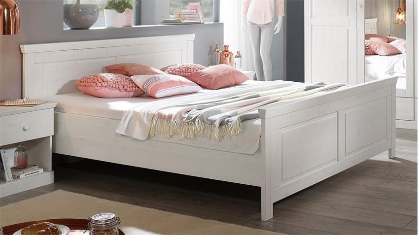 bettgestell genia kiefer massiv wei gewachst 180x200 cm landhausstil. Black Bedroom Furniture Sets. Home Design Ideas