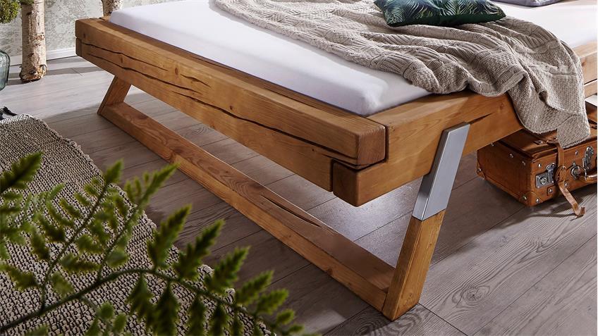 Balkenbett Gojo Fichte massiv eichefarbig Bett Füße  180x200