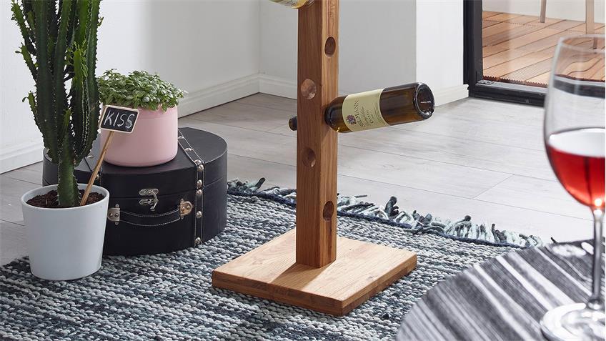 Weinständer Flaschenständer Wildeiche massiv geölt 32x150 cm