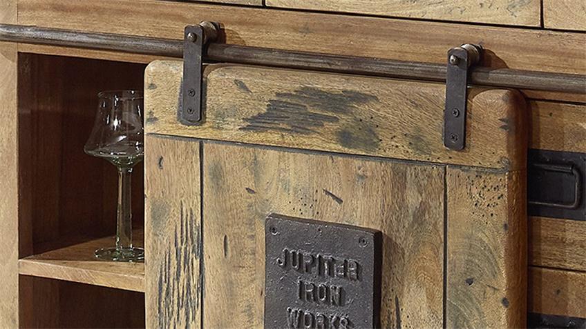 Sideboard Gingo Mangoholz massiv lackiert rustikal Rolltüren