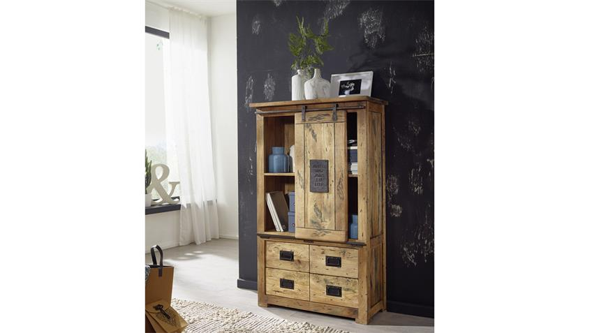 Highboard GINGO Mangoholz massiv rustikal lackiert Eisen