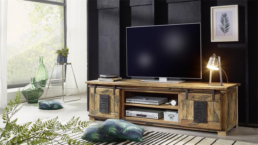 Lowboard GINGO rustikal TV-Board Mangoholz Eisen 180 cm
