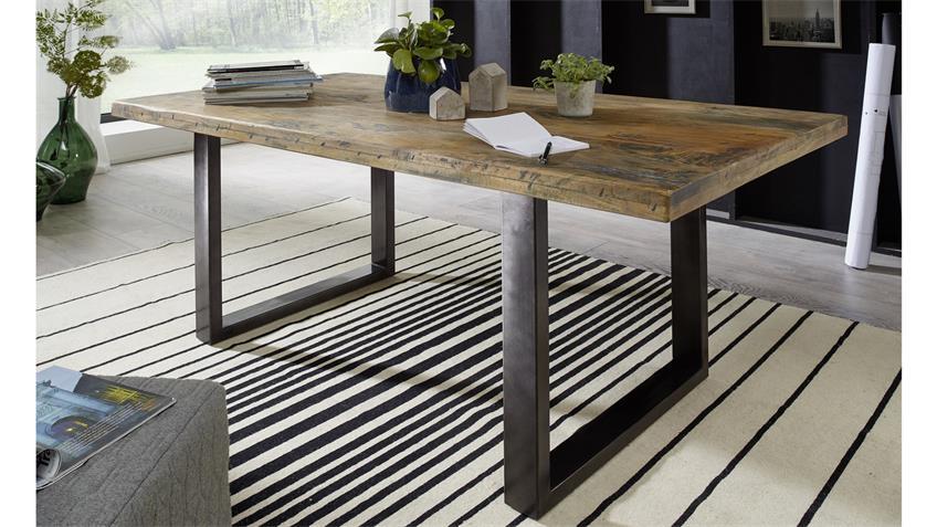 Esstisch GINGO rustikal Mangoholz Tisch Eisen grau 180x90 cm