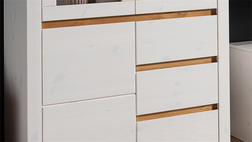 Highboard GARDA 1 Kiefer weiß lackiert eichefarbig 3-türig