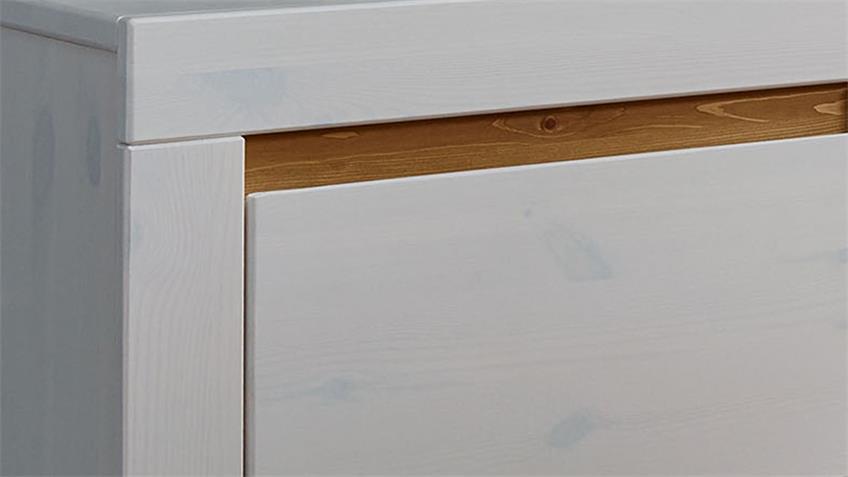 Highboard GARDA 2 Kiefer weiß lackiert eichefarben massiv
