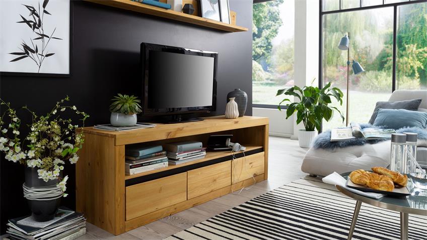 Lowboard GARDA 2 Kiefer massiv eichefarbig TV-Board 160 cm