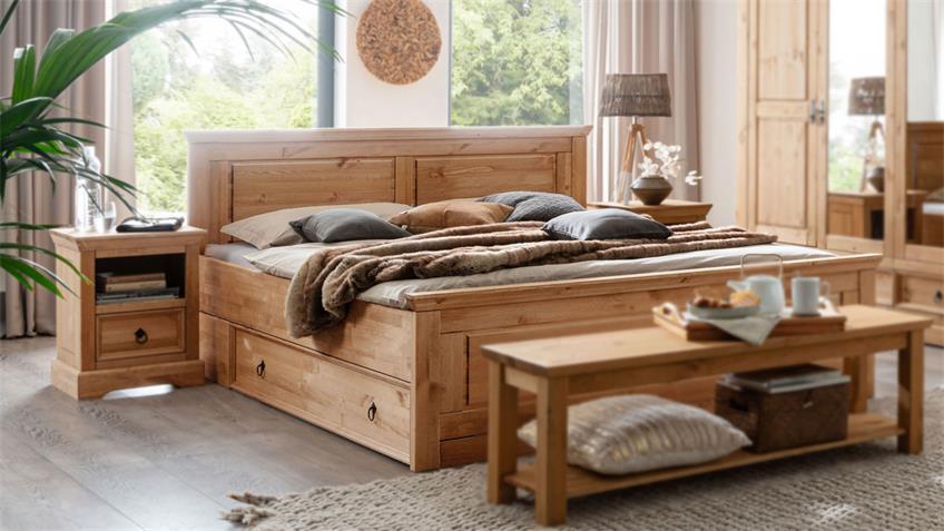 Bettanlage GARO Funktionsbett Nachttisch Kiefer massiv
