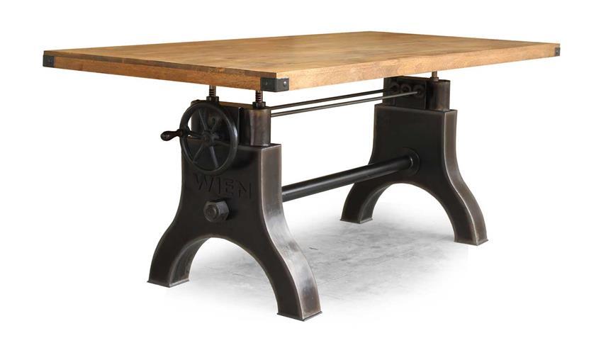 Esstisch WIEN Tisch Mango massiv Metall Retro 200x100 cm