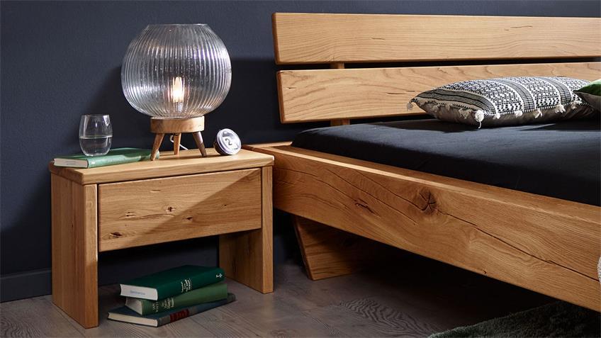 Bettanlage GROVE Bettsystem 180x200 Nachttisch Wildeiche
