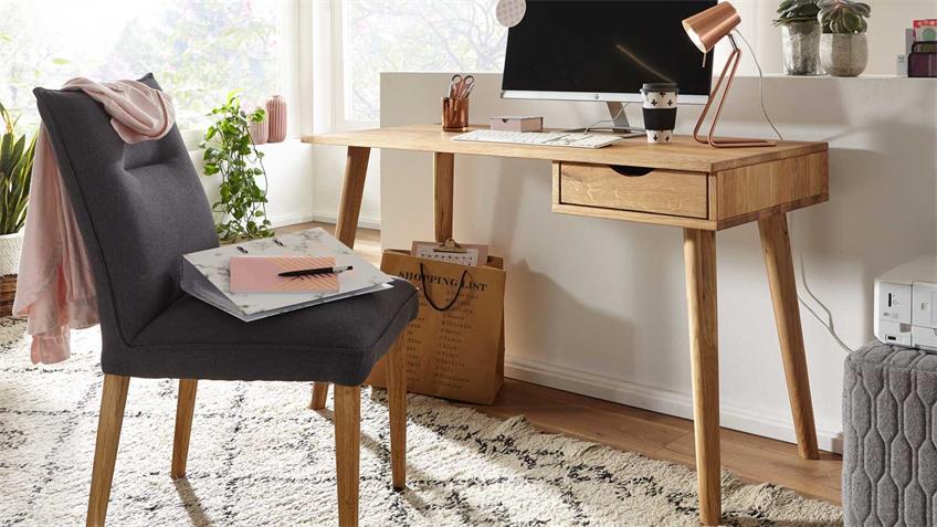 Schreibtisch GAMIA Sekretär Konsolentisch Wildeiche massiv