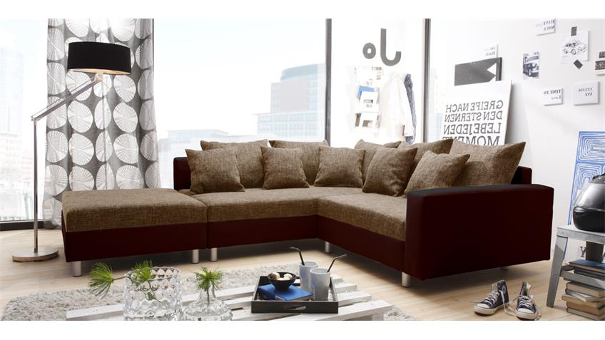 Ecksofa CLAUDIA mit Hocker braun Ottomane links