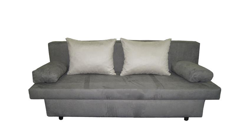Schlafsofa SPEED grau hellgrau mit Kissen und Bettkasten