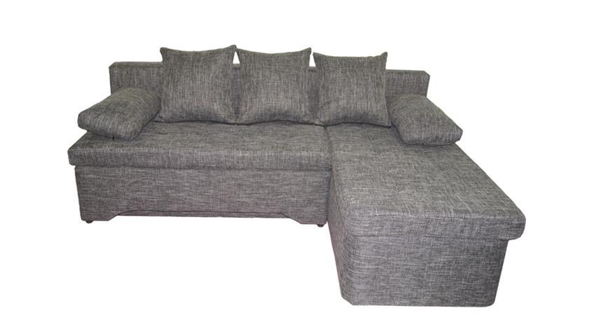 Ecksofa JANA Sofa in Webstoff grau braun inkl. Kissen