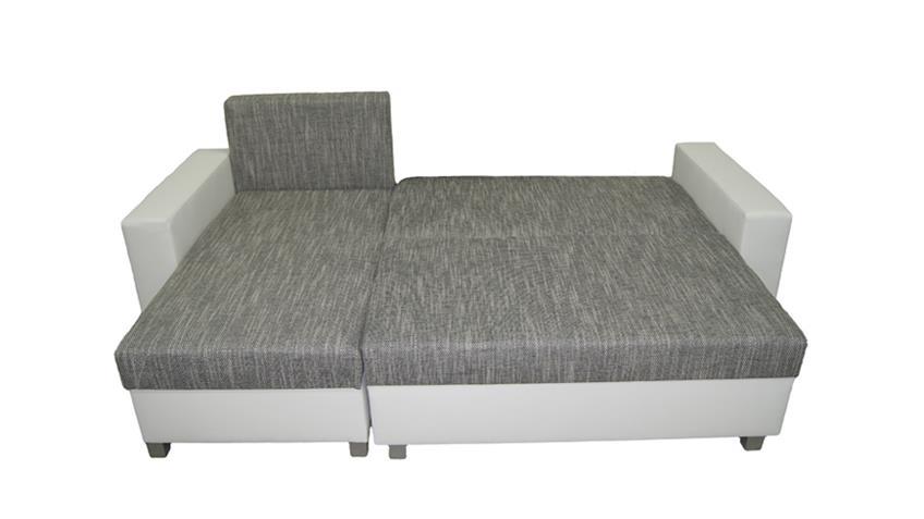 Ecksofa PANAMA Sofa Webstoff in grau inkl. Schlaffunktion