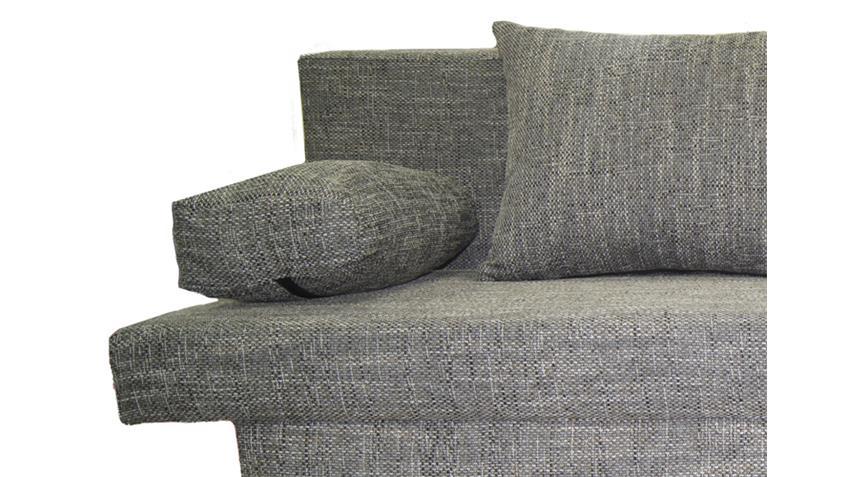 Schlafsofa SPEED Webstoff grau mit Kissen und Bettkasten