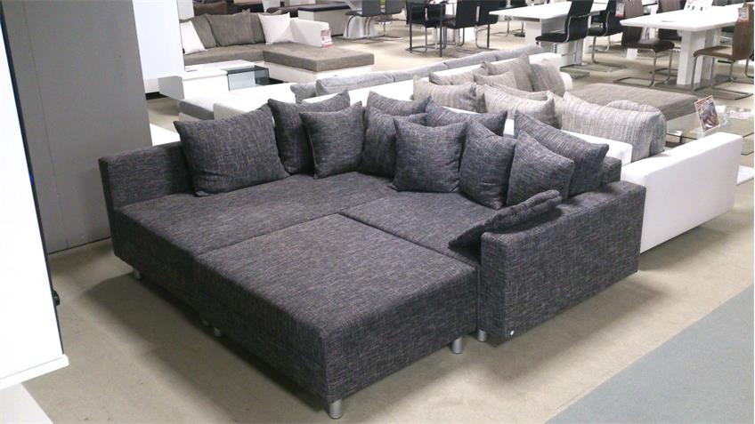 Ecksofa CLAUDIA mit Hocker Webstoff grau Ottomane links