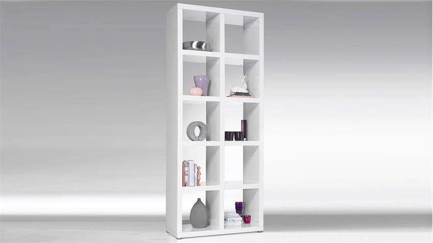 Regal TONIC Bücherregal weiß Hochglanz Lack 10 Fächer