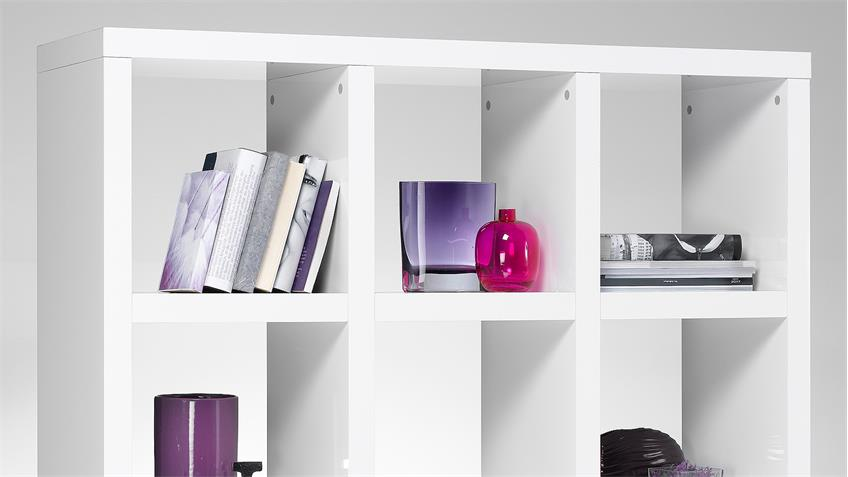 Regal TONIC Bücherregal weiß Hochglanz Lack 9 Fächer