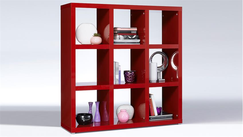 Regal TONIC Bücherregal rot Hochglanz Lack 9 Fächer
