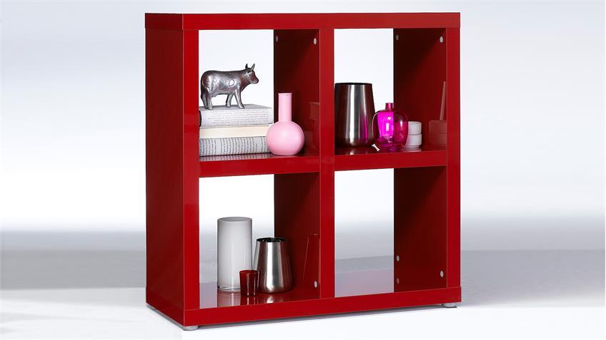 Regal TONIC Bücherregal rot Hochglanz Lack 4 Fächer