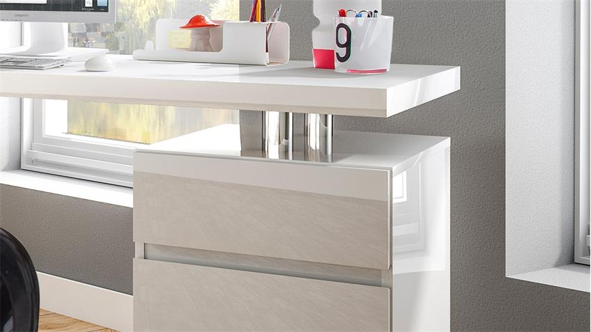 Schreibtisch Split in Weiß Hochglanz Lack mit Unterschrank