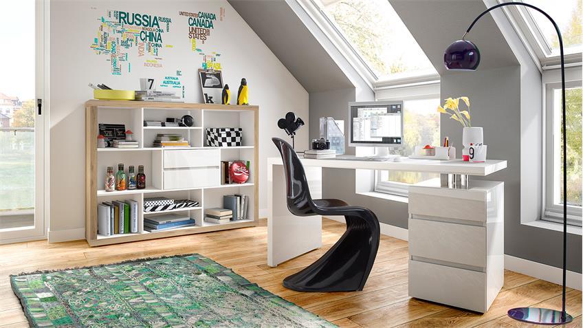Schreibtisch SPLIT mit Unterschrank weiß Hochglanz lackiert