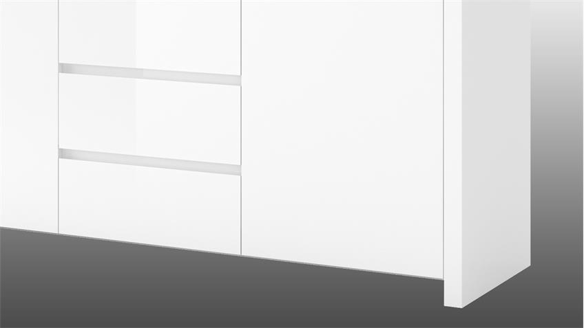 Sideboard 1 LARIO Anrichte in weiß Hochglanz lackiert