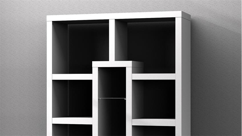 Regal KANTRI Bücherregal in weiß Hochglanz lackiert