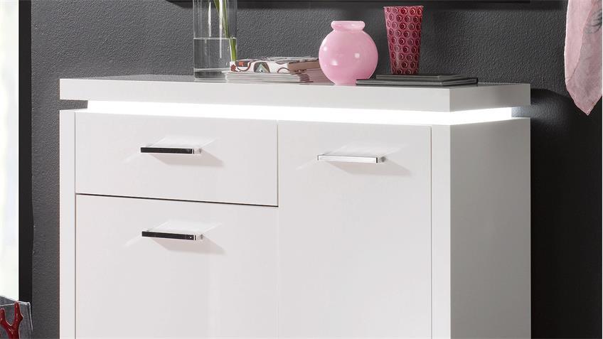 Garderobe TRACER weiß Hochglanz lackiert mit LED 4-teilig