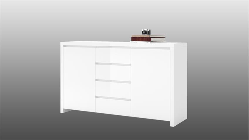 Sideboard 2 LARIO Anrichte in weiß Hochglanz lackiert