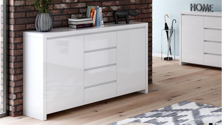 Sideboard 2 LARIO Anrichte Kommode 2-türig in weiß Hochglanz lackiert