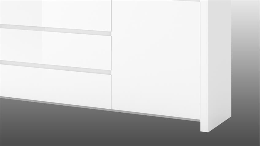 Sideboard 3 LARIO Anrichte in weiß Hochglanz lackiert