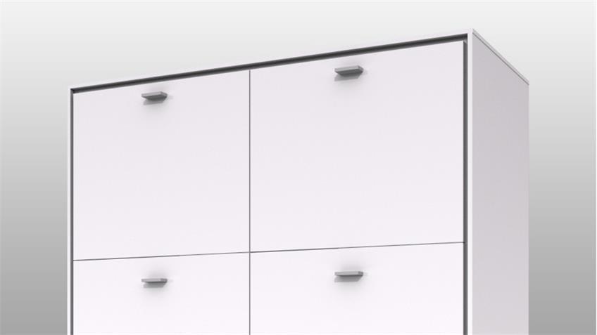 Highboard 1 VELINA weiß Hochglanz lackiert Finelineoptik