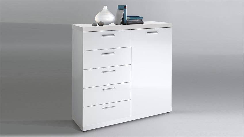 Kommode TONIC Schrank in weiß Hochglanz lackiert