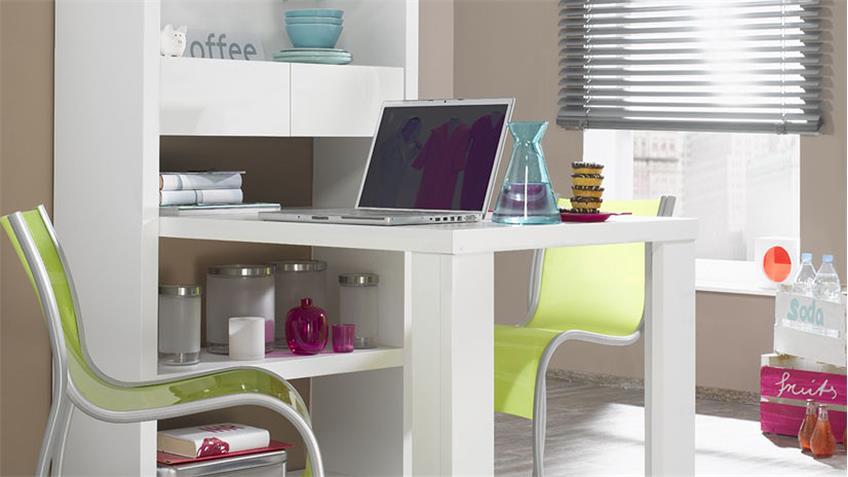 Regal 2 TONIC mit Standtisch weiß matt und Hochglanz Lack