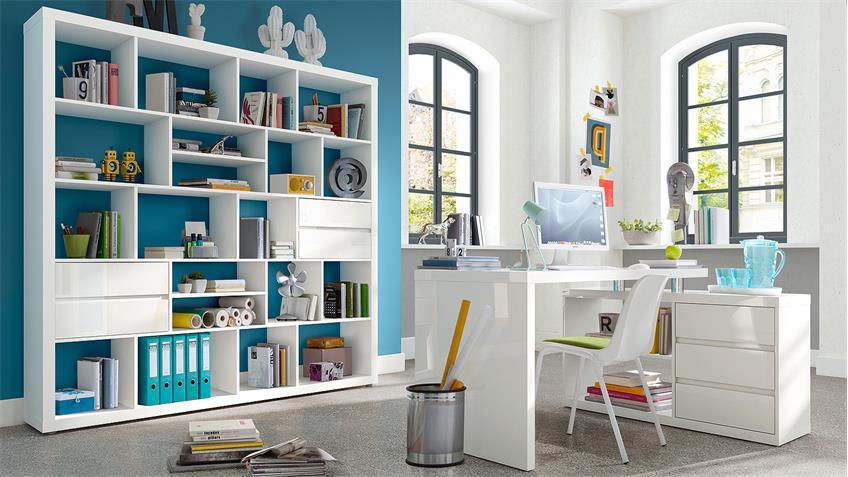 Regal SPLIT Bücherregal in weiß matt lackiert 20 Fächer