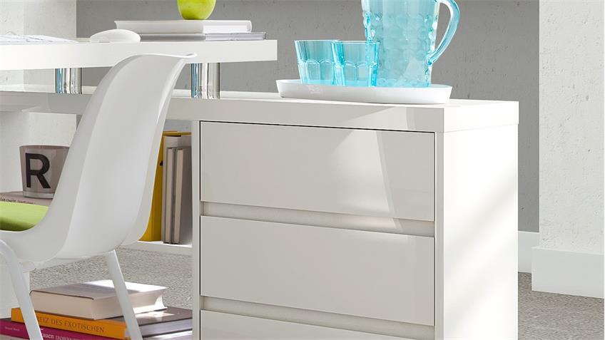 Eck-Schreibtisch SPLIT mit Unterschrank weiß Hochglanz Lack