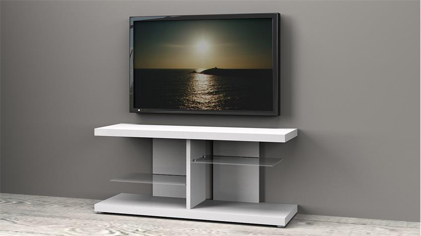 tv board media 6125 hifi m bel in wei hochglanz lackiert. Black Bedroom Furniture Sets. Home Design Ideas