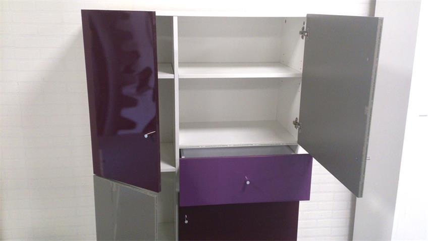 Highboard Kommode Brombeer lackiert mehrfarbig Front Hochglanz