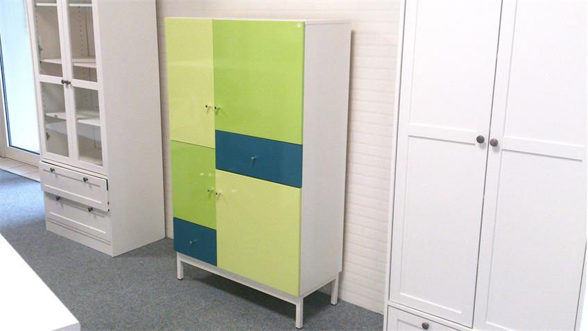 Highboard Kommode Pistazie lackiert mehrfarbig Front Hochglanz