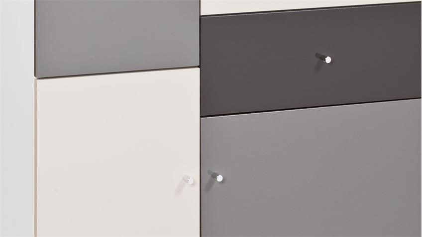 Highboard Kommode Macchiato lackiert mehrfarbig Front Hochglanz