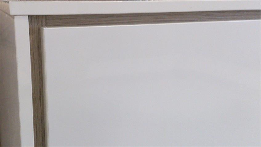 Sideboard VILLINO Hochglanz weiß lackiert Innendekor Eiche Sanremo