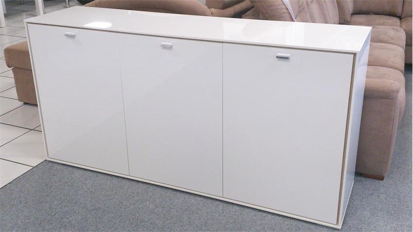 Sideboard Villino 3-türig Hochglanz weiß lackiert Innen Eiche Sanremo
