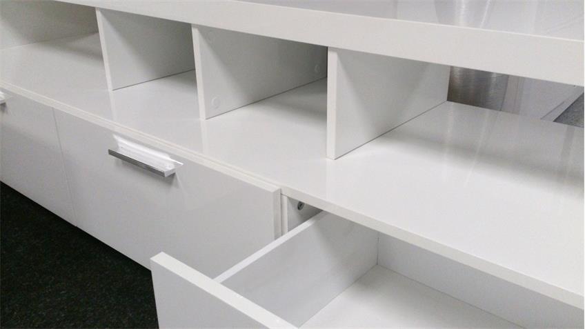 Mediabank Lowboard 3 Schubkästen Hochglanz weiß lackiert
